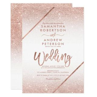 Rose gold glitter typography white wedding invitation