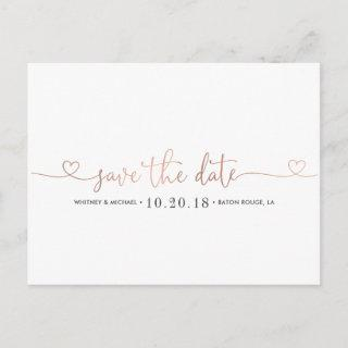 Rose Gold Heart Save the Date Announcement Postcard