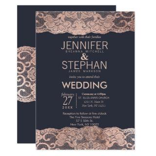 Rose Gold Lace and Navy Blue Wedding Invitations
