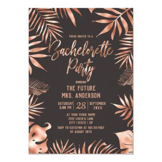 Rose Gold Leaves Bachelorette Party Invitation