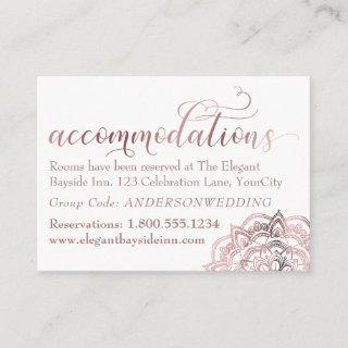 Rose Gold Mandala White Accommodations Insert Card