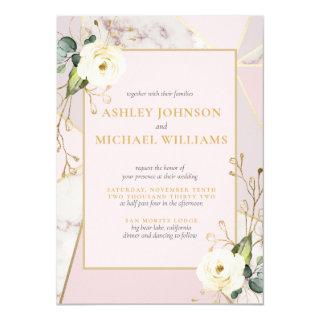 Rose Gold Marble Gold Geometric Eucalyptus Floral Invitation