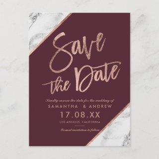 Rose gold marble script burgundy save the date announcement postcard