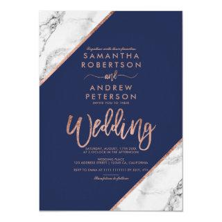 Rose gold marble typography navy blue wedding Invitations