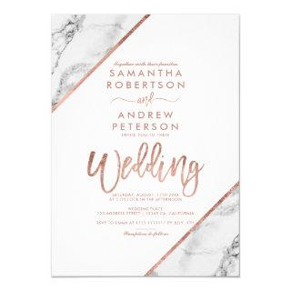 Rose gold marble typography white wedding Invitations