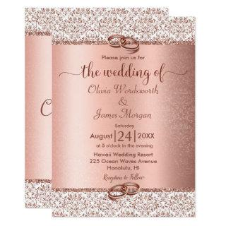 Rose Gold Metallic Glitter Monogram Wedding Invitations