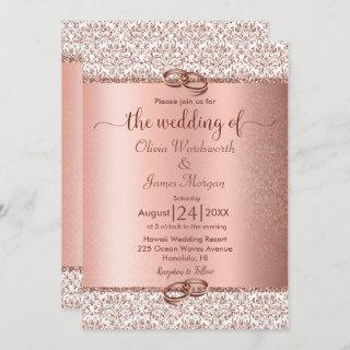 Rose Gold Metallic Glitter Monogram Wedding Invitation