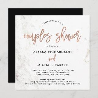 Rose Gold Modern Script | Marble Couples Shower Invitations