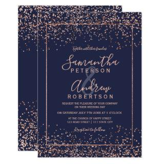 Rose gold navy blue confetti typography wedding Invitations