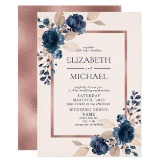 Rose Gold Navy Blue Dusty Pink Floral Wedding Invitations