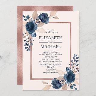Rose Gold Navy Blue Dusty Pink Floral Wedding