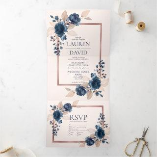 Rose Gold Navy Blue Dusty Pink Floral Wedding Tri-Fold Invitation