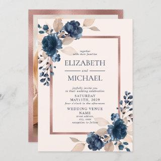 Rose Gold Navy Blue Pink Floral Photo Wedding Invitation