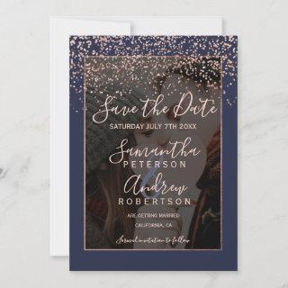 Rose gold navy blue save the date photo wedding
