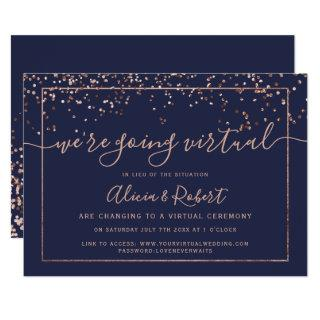 Rose gold navy blue script virtual wedding Invitations