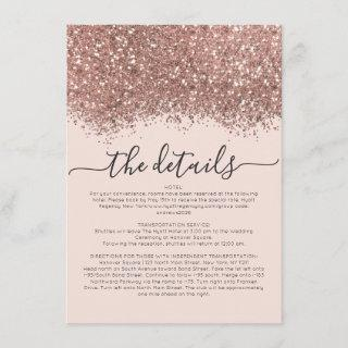 Rose Gold Pink Glitter Confetti Wedding Details Enclosure Card