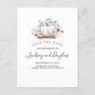 Rose Gold Pumpkins Fall Save the Date Announcement Postcard