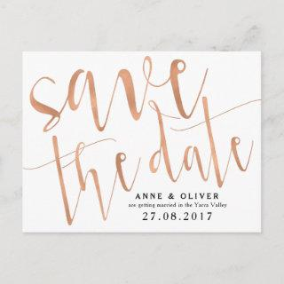 Rose Gold Save the Date Postcard Rustic