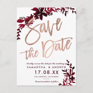 Rose gold script Floral fall red save the date Announcement Postcard