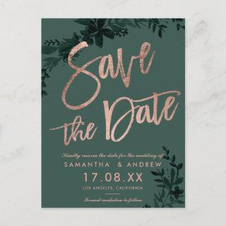 Rose gold script Floral green save the date Announcement Postcard