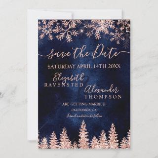 Rose gold snow pine navy Christmas save the date