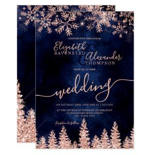 Rose gold snow pine navy Christmas winter wedding Invitations