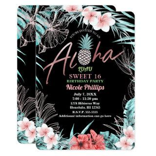Rose Gold Tropical Pineapple Aloha Luau Sweet 16 Invitation