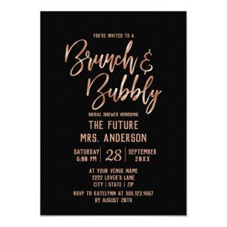 Rose Gold Typography Brunch & Bubbly Bridal Shower Invitation