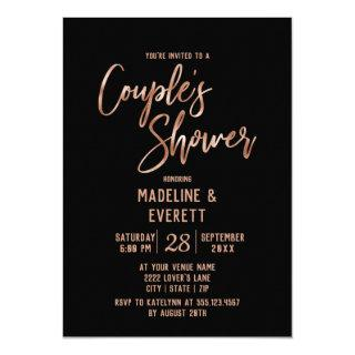 Rose Gold Typography Couple's Shower Invitations