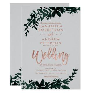 Rose gold typography Floral grey wedding Invitations
