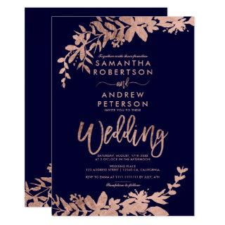 Rose Gold typography floral navy blue chic wedding Invitation