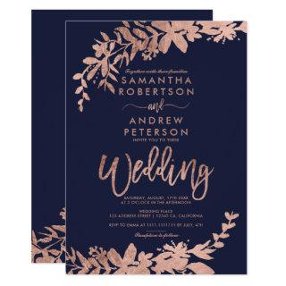 Rose gold typography Floral navy blue wedding Invitations