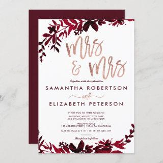 Rose gold typography Floral red lesbian wedding Invitation