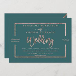 Rose gold typography green teal chic wedding invitation