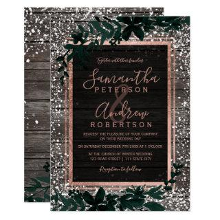 Rose gold typography leaf snow wood wedding Invitations