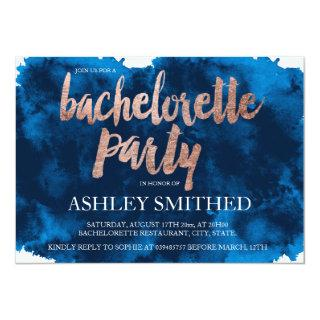 Rose gold typography navy blue bachelorette party invitation