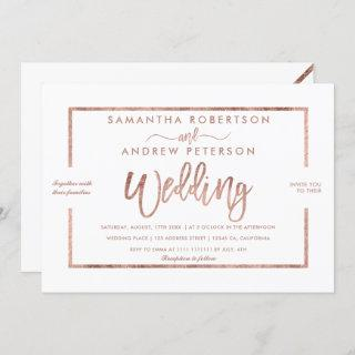 Rose gold typography simple white chic wedding Invitations