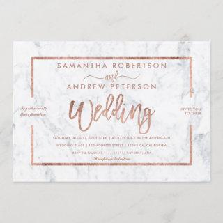 Rose gold typography white marble chic wedding invitation