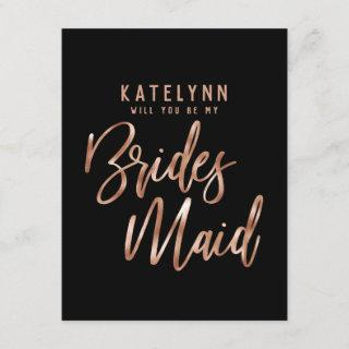 Rose Gold Typography Will You Be My Bridesmaid Invitation