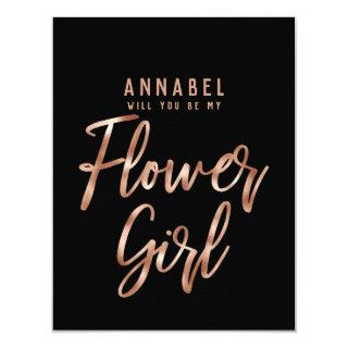 Rose Gold Typography Will You Be My Flower Girl Invitations