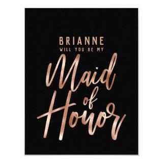 Rose Gold Typography Will You Be My Maid of Honor Invitations