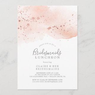 Rose Gold Watercolor Bridesmaids Luncheon Invitations