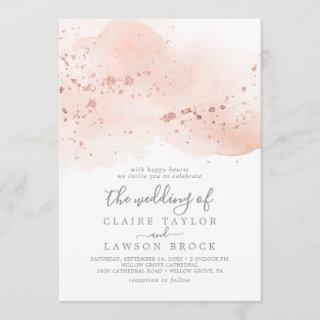 Rose Gold Watercolor The Wedding Of