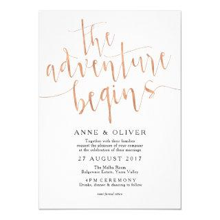 Rose Gold Wedding Invitations The Adventure Begins