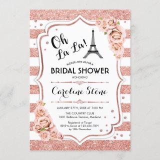 Rose Gold White French Style Bridal Shower Invitations