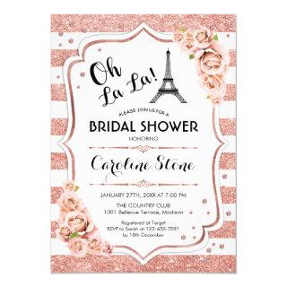 Rose Gold White French Style Bridal Shower Invitation