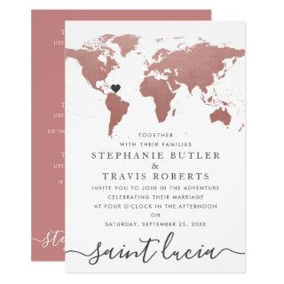 Rose Gold World Map Travel Theme Wedding Invitation