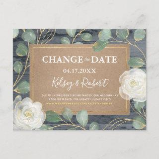 Rose Greenery Wood Rustic Wedding Change the Date Announcement Postcard