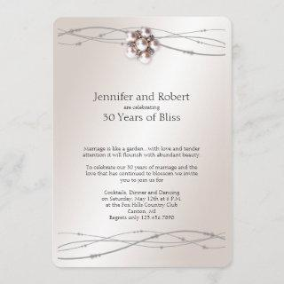 Rose Pearl 30th Wedding Anniversary Invitations
