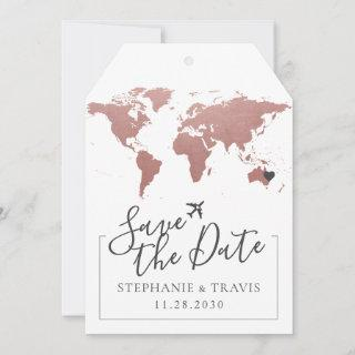 Rose Pink World Map Luggage Tag Save the Date